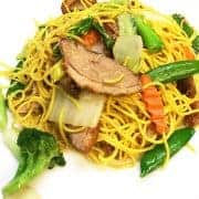 Yellow egg duck noodle